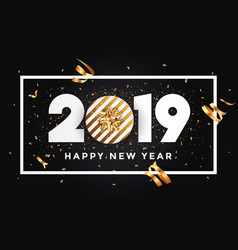 Happy new year 2019 - banner with frame black vector