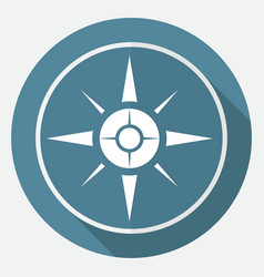 icon compass on white circle with a long shadow vector image
