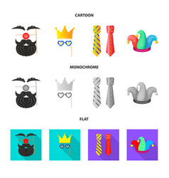 isolated object party and birthday icon set of vector image