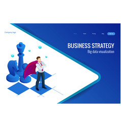 isometric businessman standing on chess board vector image