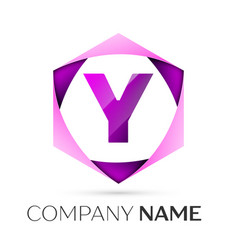 Letter y symbol in the colorful hexagonal vector
