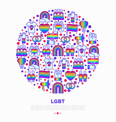 lgbt concept in circle with thin line icons vector image