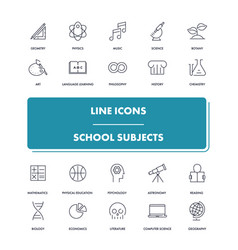 Line icons set school subjects vector