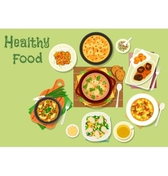 Lunch with mushroom icon for healthy food design vector image