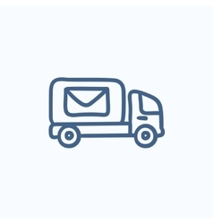 Mail van sketch icon vector image