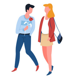 man offering rose to woman couple on date walking vector image