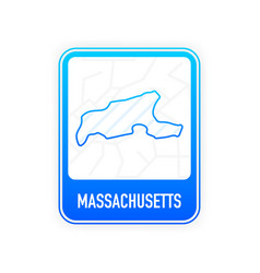 Massachusetts - us state contour line in white vector
