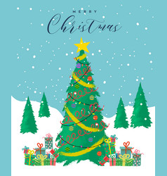 merry christmas card festive pine tree cartoon vector image