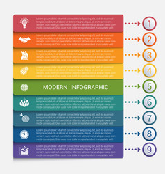 modern strips infographics 9 options banner vector image