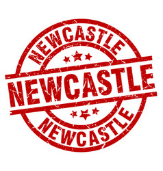 Newcastle red round grunge stamp vector