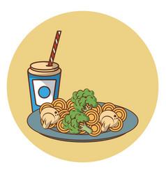 Noodles fast food vector