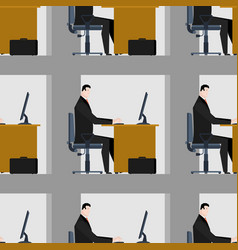 office working on computer seamless pattern vector image