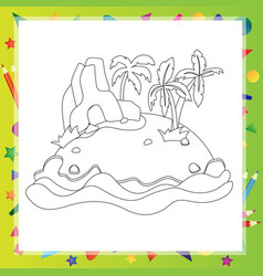 outlined cartoon island with palm tree and rock vector image