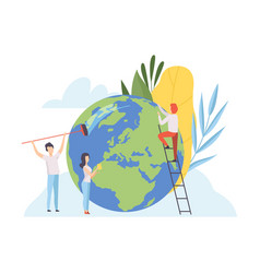 people cleaning earth planet volunteers vector image