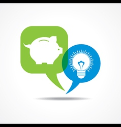 piggy bank and light-bulb in message bubble vector image