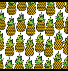 pineapples pattern fresh fruit drawing icon vector image