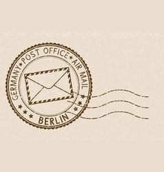 Postal stamp round brown postmark with berlin vector