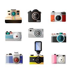 retro and modern digital photo cameras set vector image