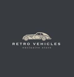 retro car abstract logo design template vector image