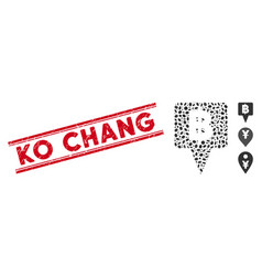Scratched ko chang line stamp with mosaic thai vector