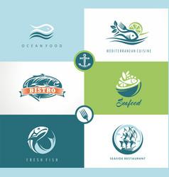 seafood fish restaurant symbols vector image