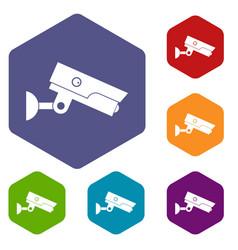 Security camera icons set hexagon vector