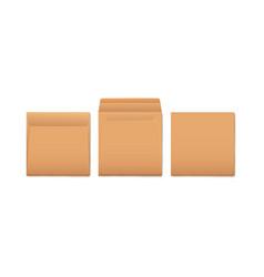 set brown paper envelopes for mail blank mockup vector image