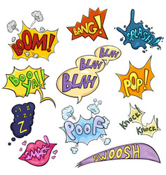 Set cartoon comics phrases and effects vector