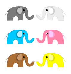 set colored elephants isolated on white vector image