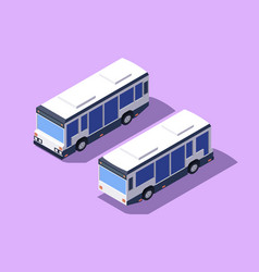 set front and back view bus for transportation vector image