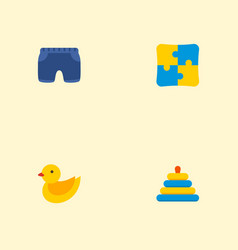 set of baby icons flat style symbols with duck toy vector image