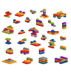 Set of different plastic pieces constructor vector
