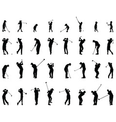 silhouettes golf players vector image