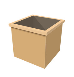 simple wooden box on white background vector image