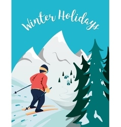 Skier in mountains vector