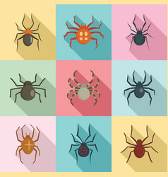 spider bug caterpillar icons set flat style vector image