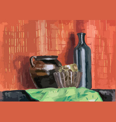 Still life ceramic pot vase and bottle gouache vector