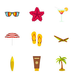 summer beach icons set flat style vector image