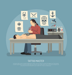 tattoo studio composition vector image