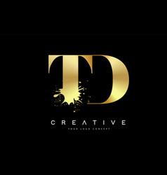Td t d letter logo with gold melted metal splash vector