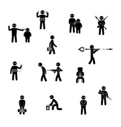 Terrorism concept set of terrorist people world vector