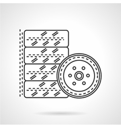 Tires kit flat line icon vector image