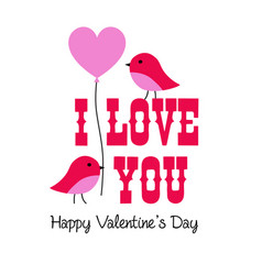 Valentine graphic with birds and balloon vector