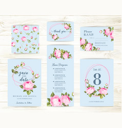 vintage flowers templates set over wooden vector image