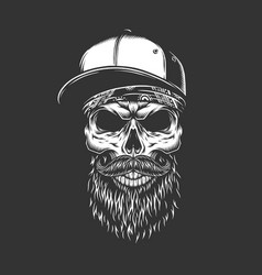 Vintage monochrome bearded and mustached skull vector