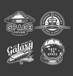 vintage monochrome space badges set vector image