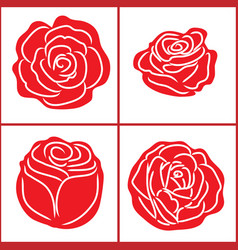 White stripes in red rose shape vector