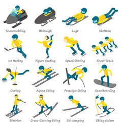 winter sport ski board icons set isometric style vector image