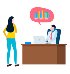 Woman going to take credit financial consultant vector