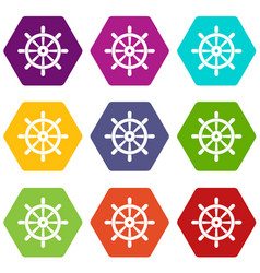 wooden ship wheel icon set color hexahedron vector image